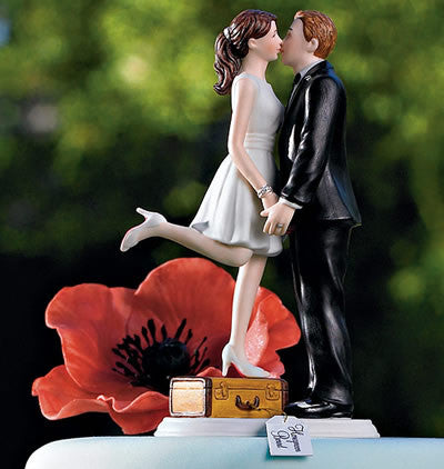 A Kiss and We're Off Wedding Cake Top