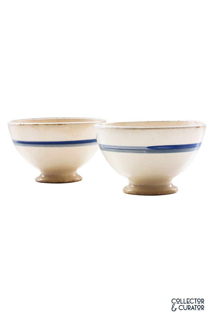 Pair of Blue Banded Breakfast Bowls - Collector & Curator