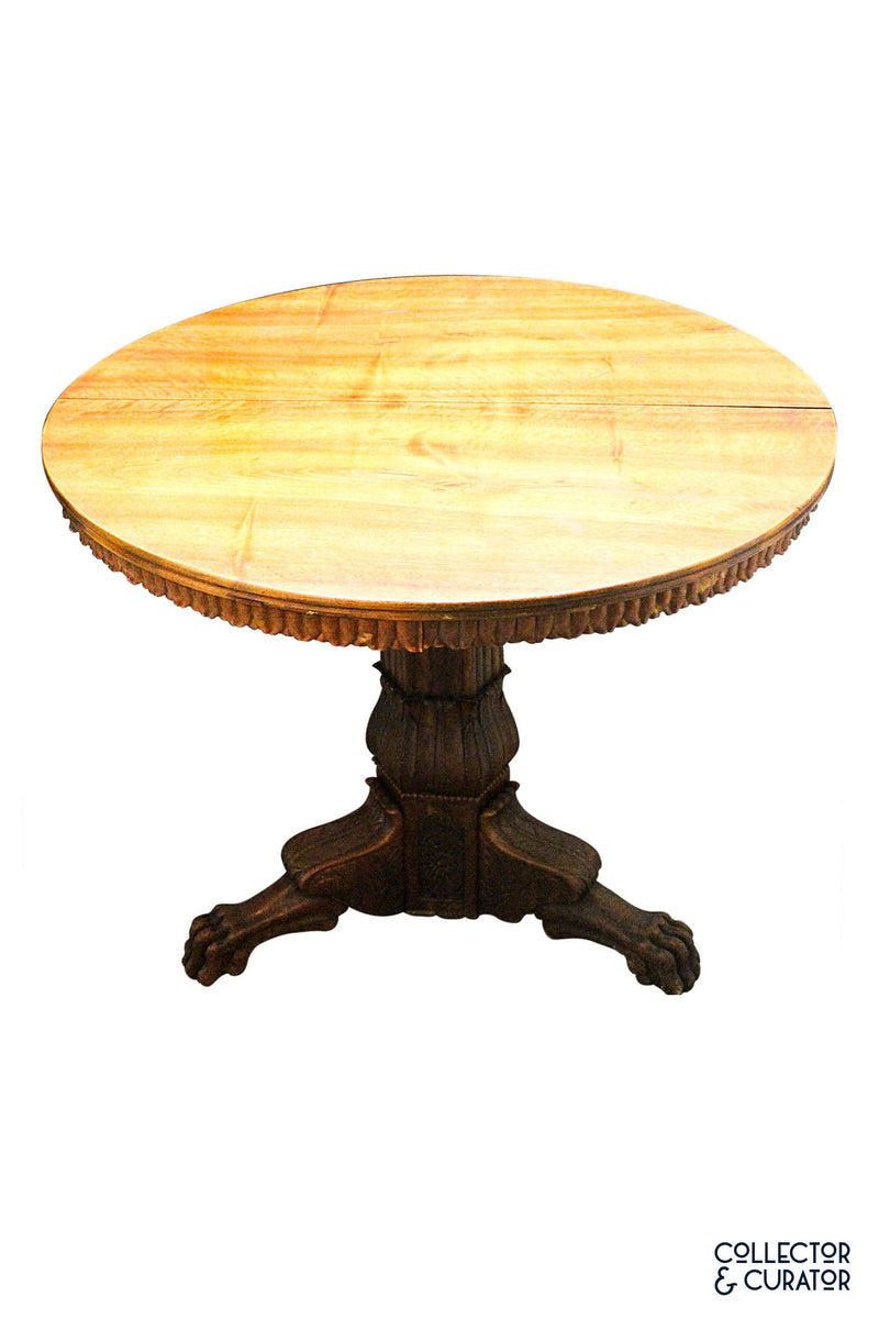 Antique Solid Wood Flip Top Center Pedestal Table - Collector & Curator