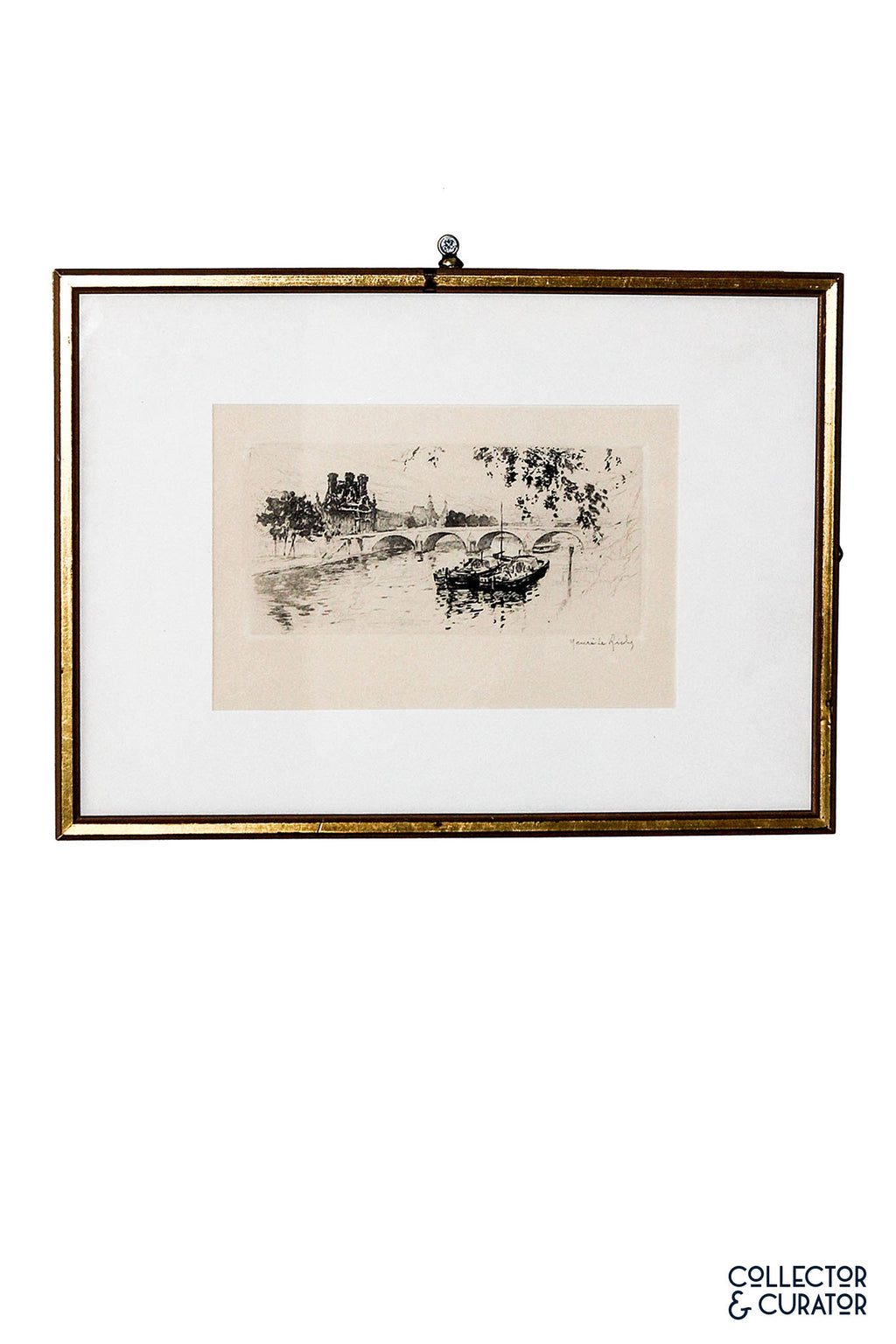 Signed Henri Le Riche Etching in Brushed Gold Frame - Collector & Curator
