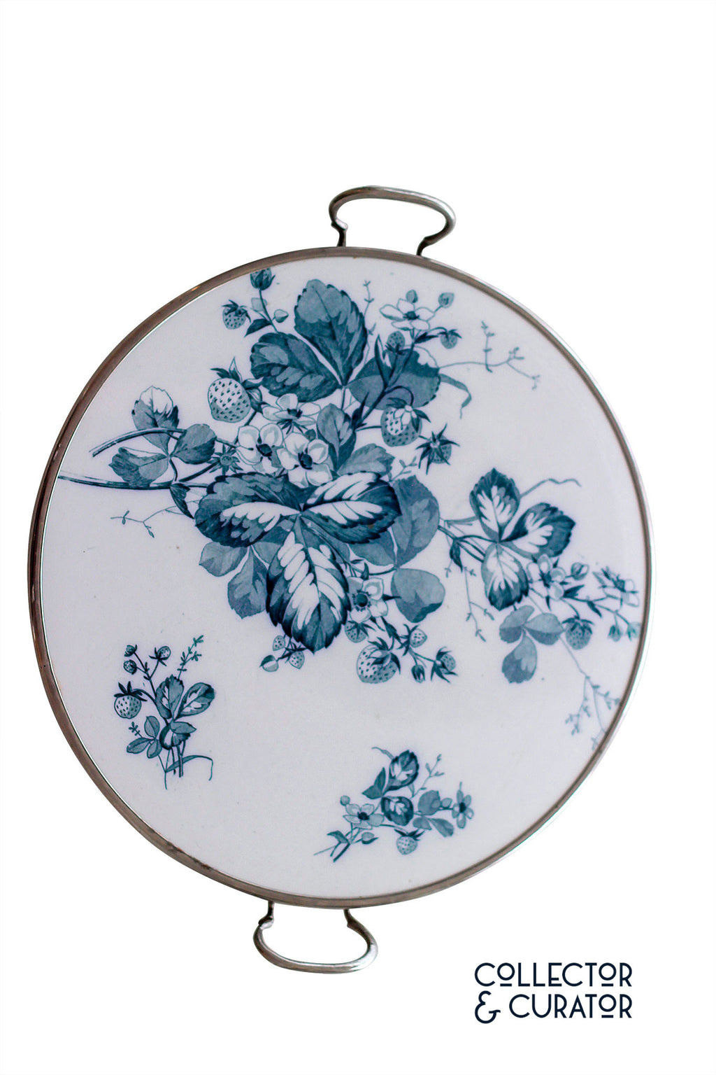 Beautiful blue transferware tray (polychrome) - Collector & Curator