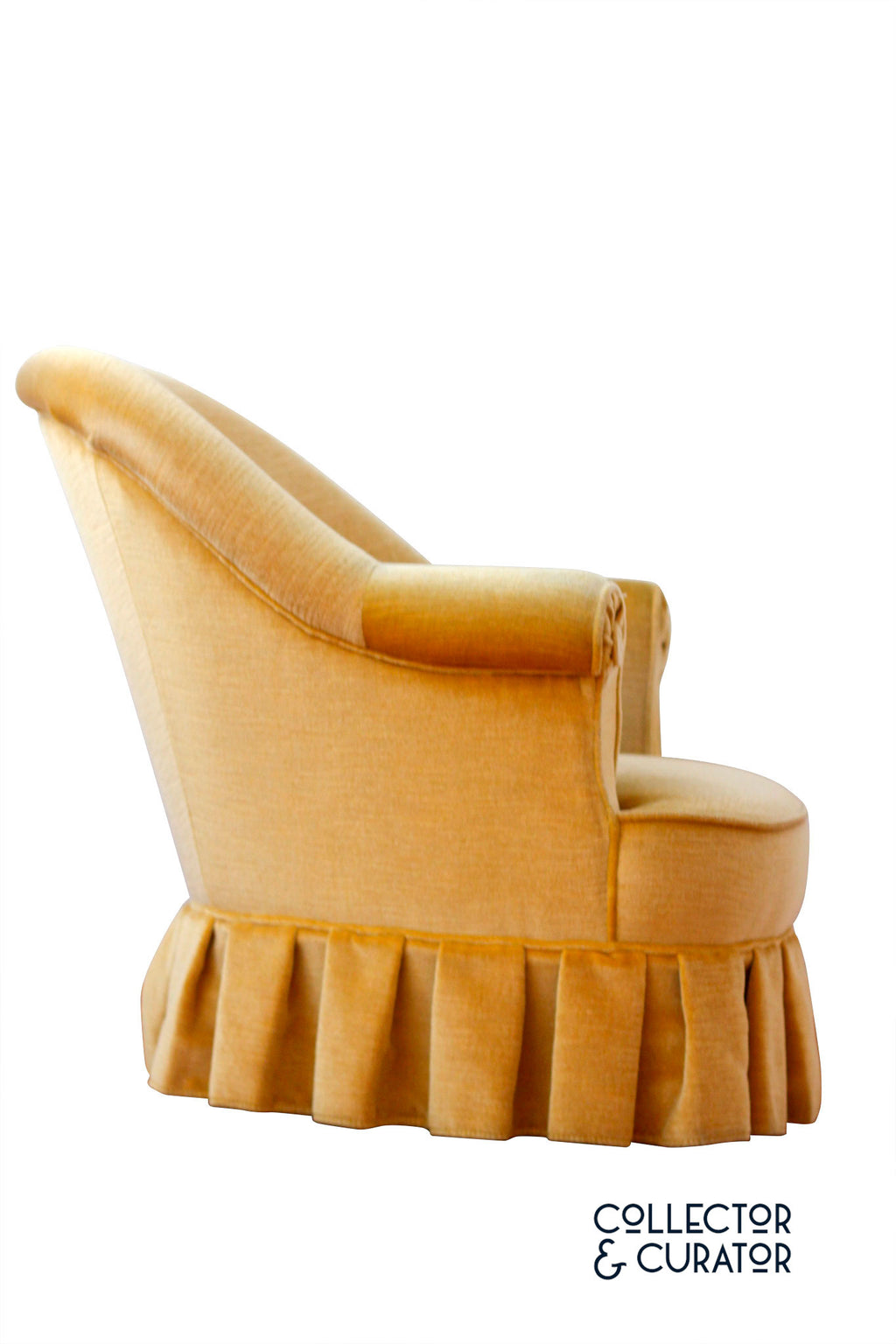 Yellow Velvet Chair Armchair - Collector & Curator