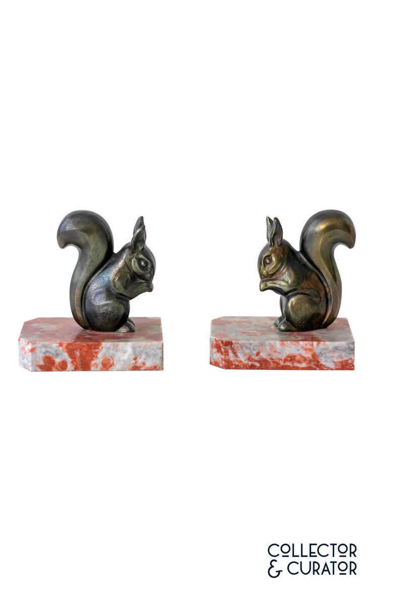 Pair of Art Deco Squirrel Bookends - Collector & Curator