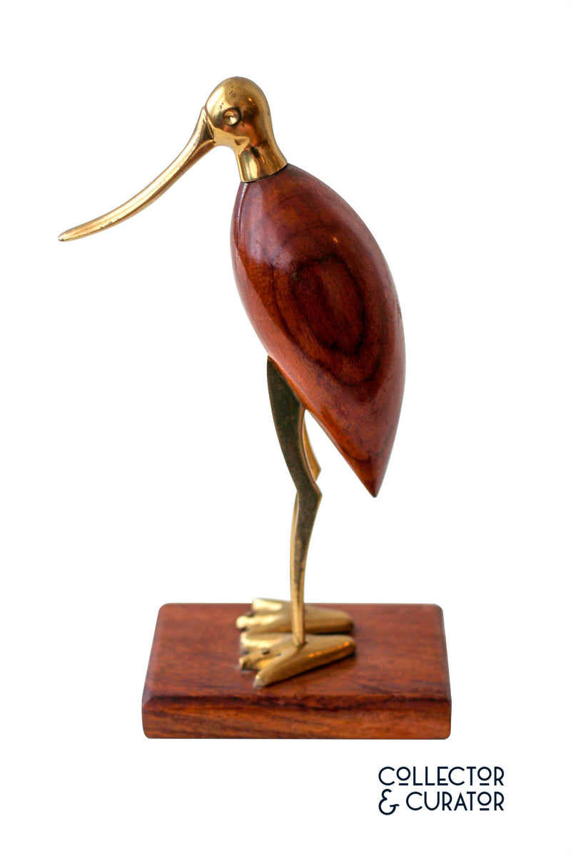 Wood and Brass Decorative Bird Sculpture - Collector & Curator