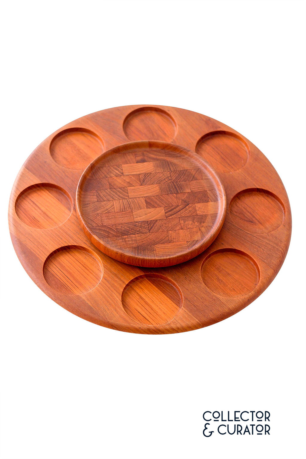 Digsmed Teak Lazy Susan 310 Round Glass Dishes - Collector & Curator