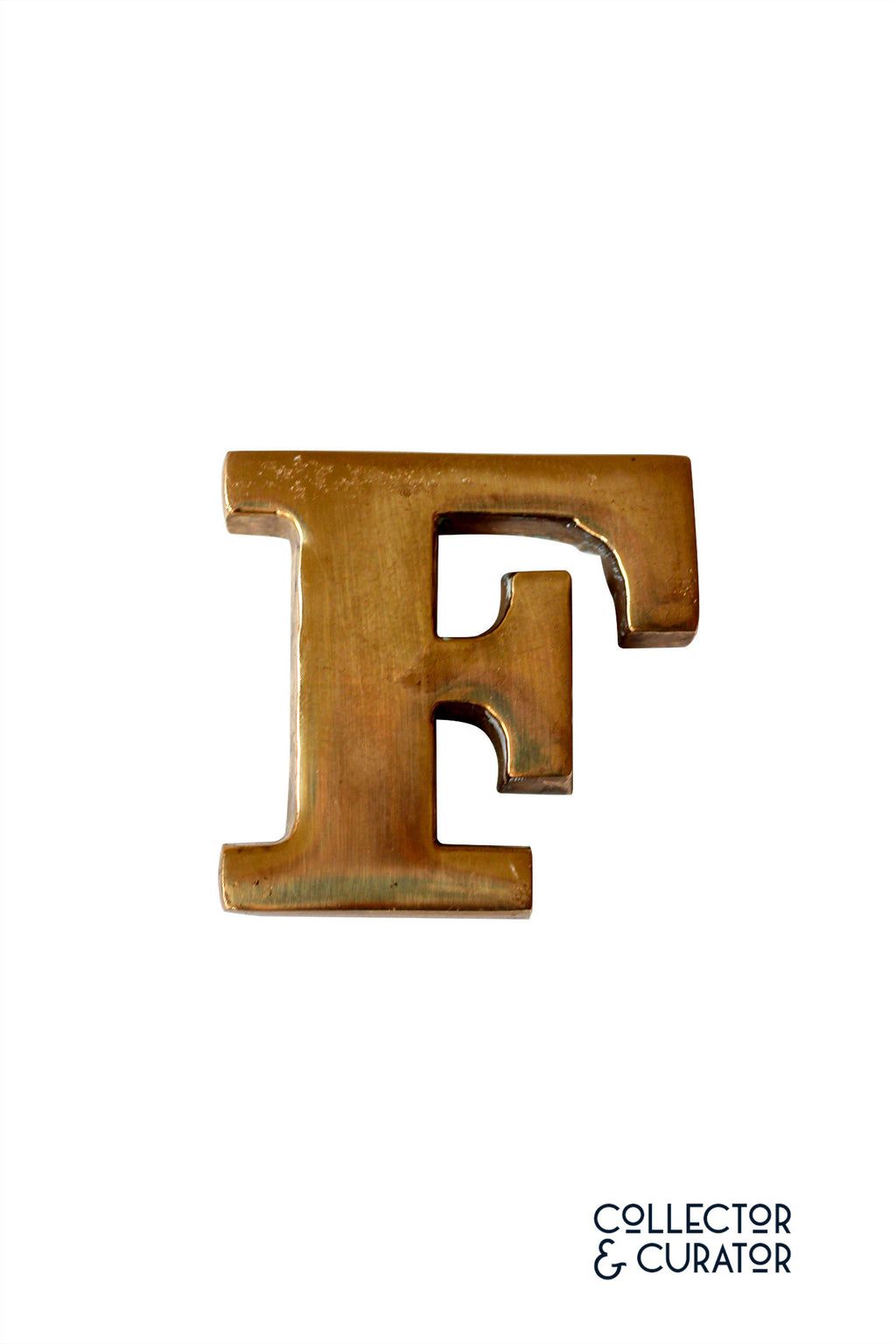 "Brass Initial ""F"" Decorative Object - Collector & Curator"