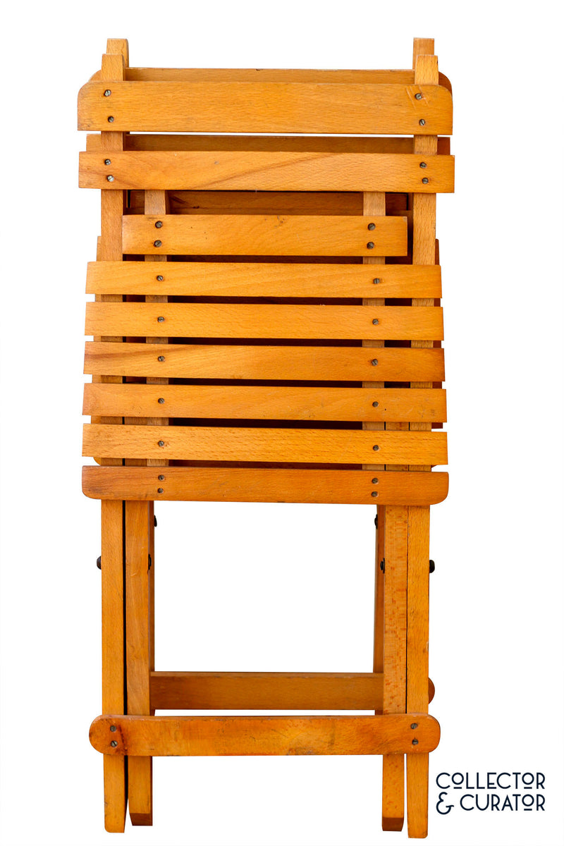 Pair of Children's Wooden Folding Chairs - Collector & Curator