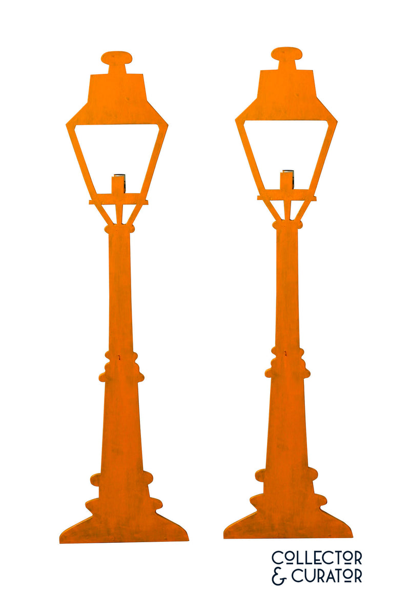 Pair of Folk Art Wooden Painted Street Lamps - Collector & Curator