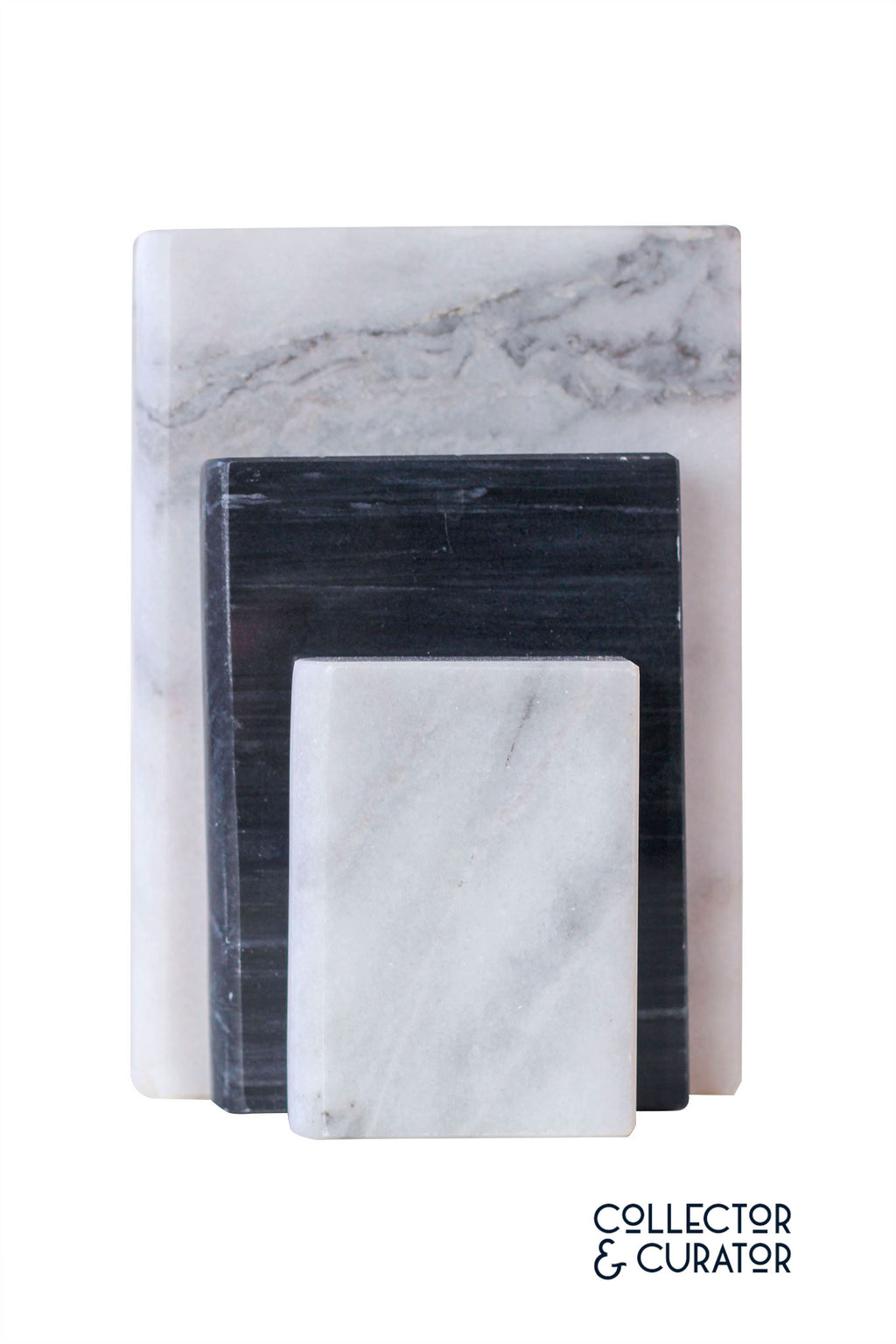Pair of Black and White Marble Bookends - Collector & Curator