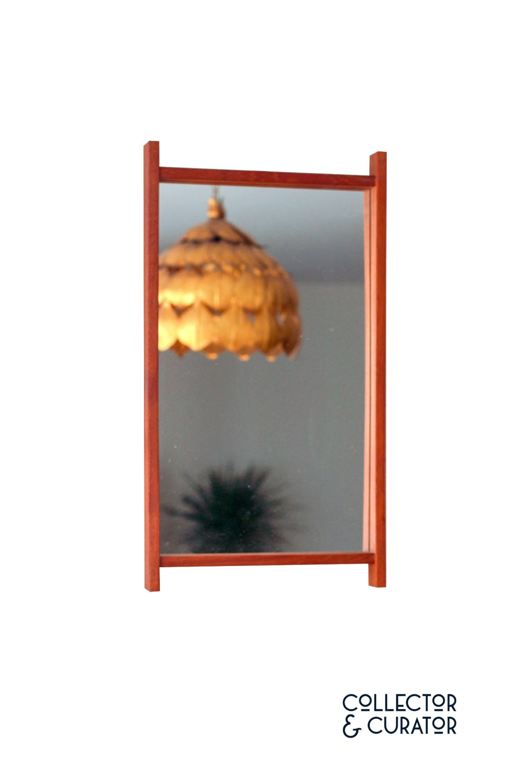 Rectangular Mid Century Modern Mirror with Teak Frame - Collector & Curator