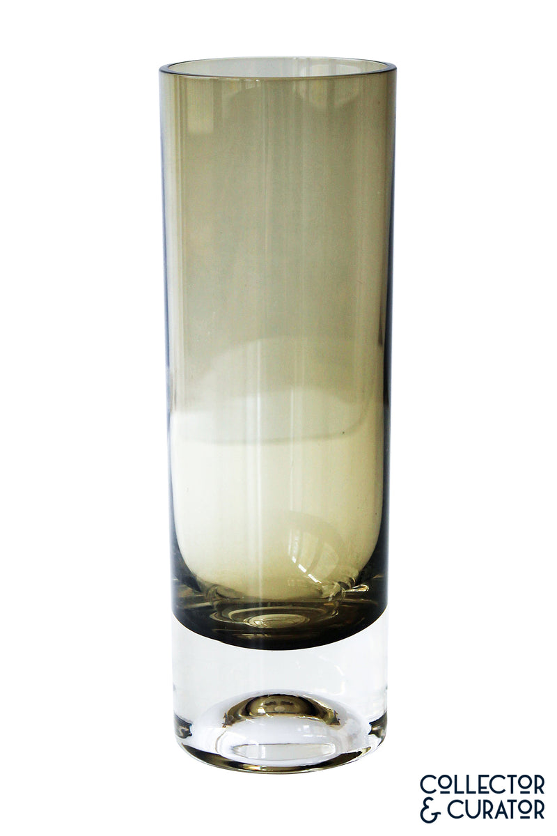 Smoky Cylinder Brown Glass Vase
