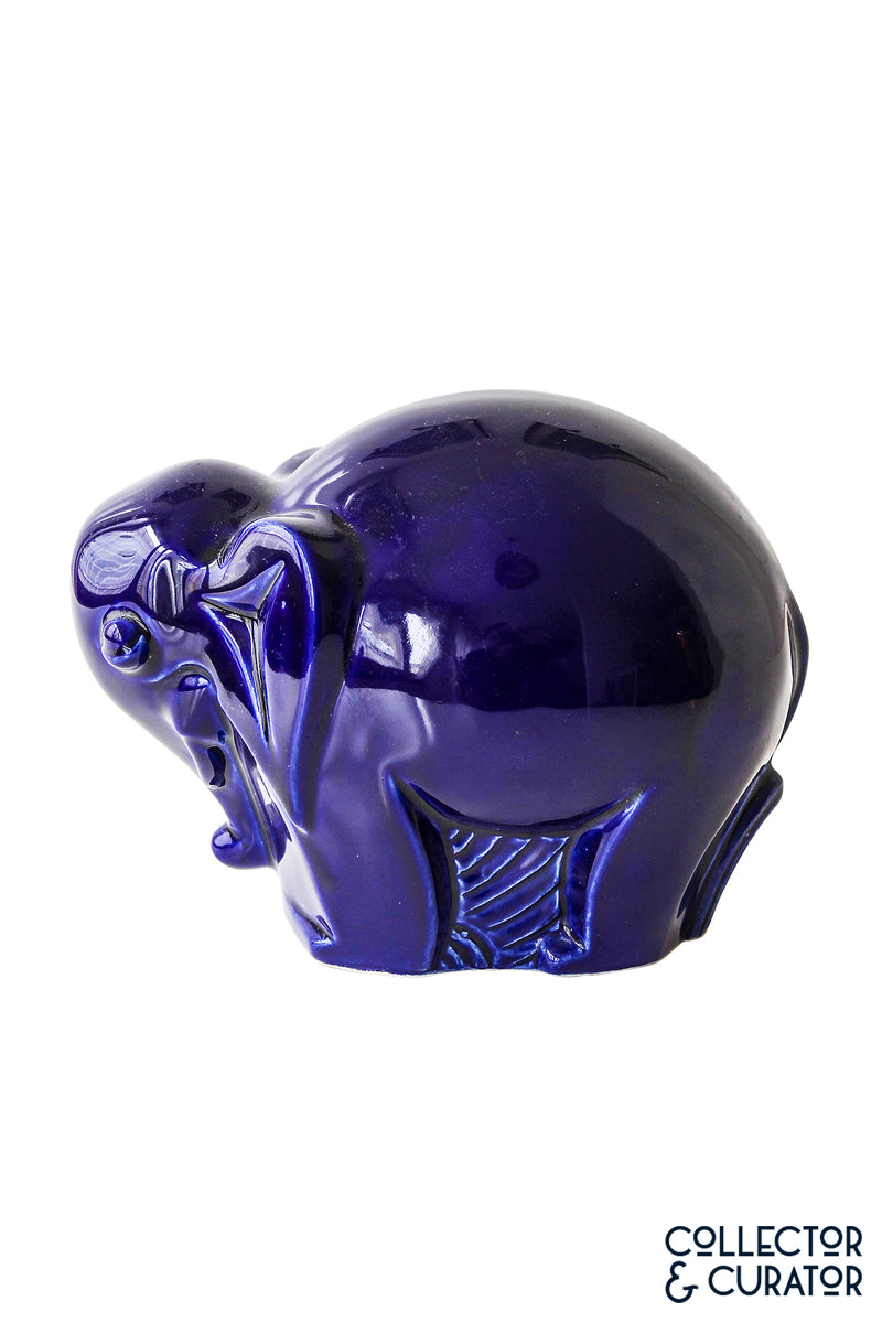 Blue Art Deco Elephant Porcelain Ceramic