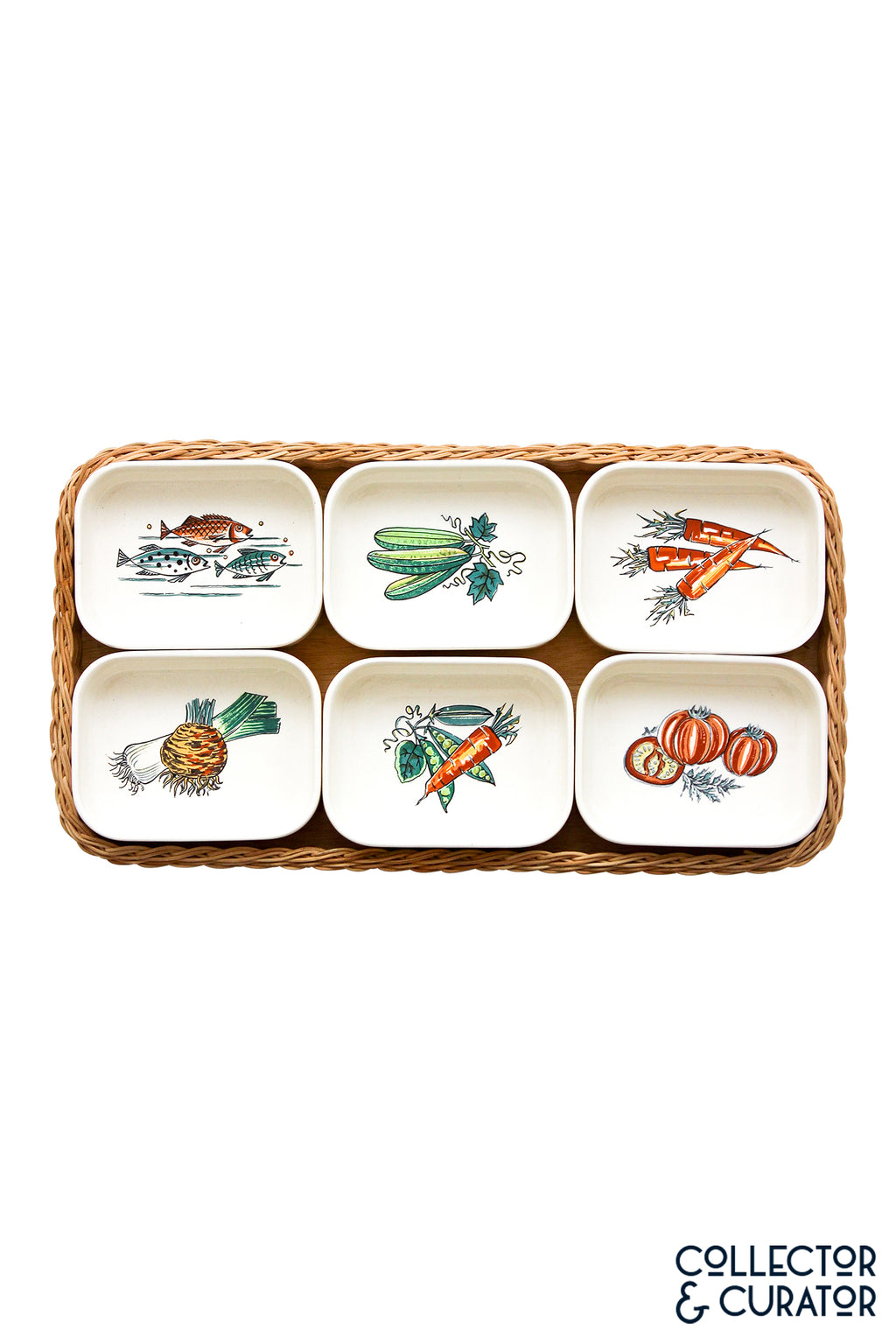 Waechtersbach Painted Dishes in Wicker Serving Tray Mid Century Modern