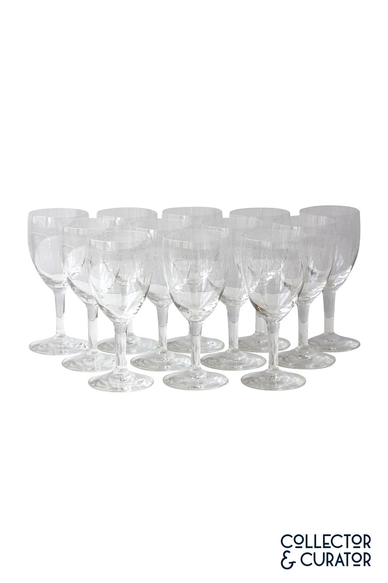 Set of 12 Etched Wine Glasses-Collector & Curator
