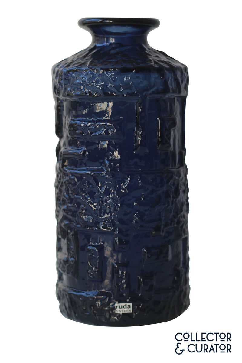 Ruda glass vase in cobalt blue by Göte Augustsson - Collecotr & Curator