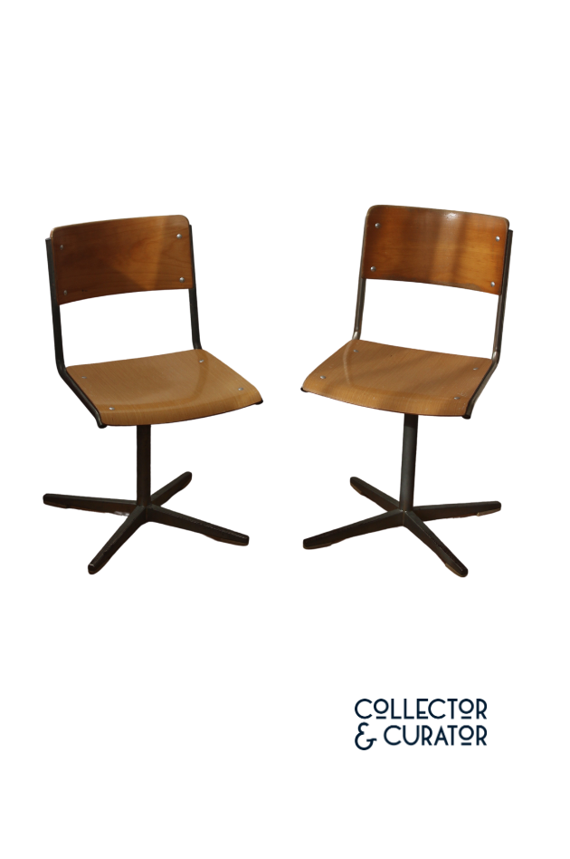 Pair Embru Vintage Swiss School Chairs- Collector & Curator