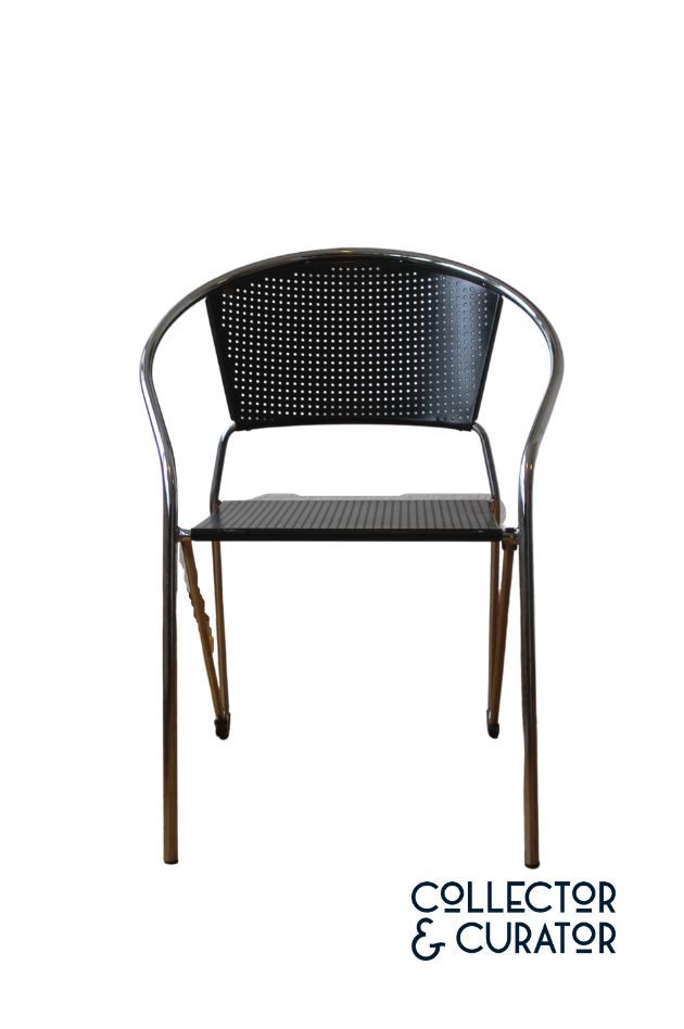 Embru-Italian Stackable Metal Chrome Dining Chairs-Collector & Curator