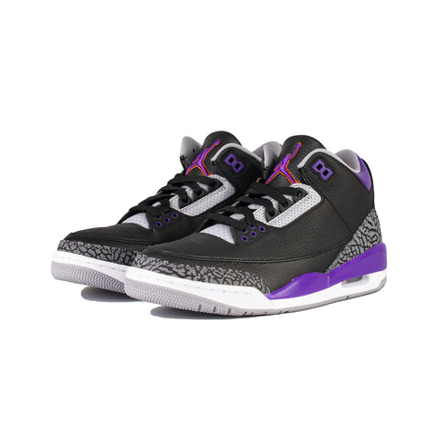 Air Jordan 3 Retro (Black/Court Purple-Cement Grey)