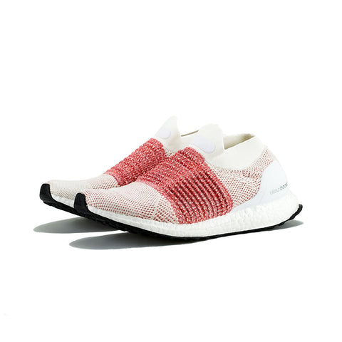 adidas - UltraBOOST Laceless (White/White/Trace Scarlet)