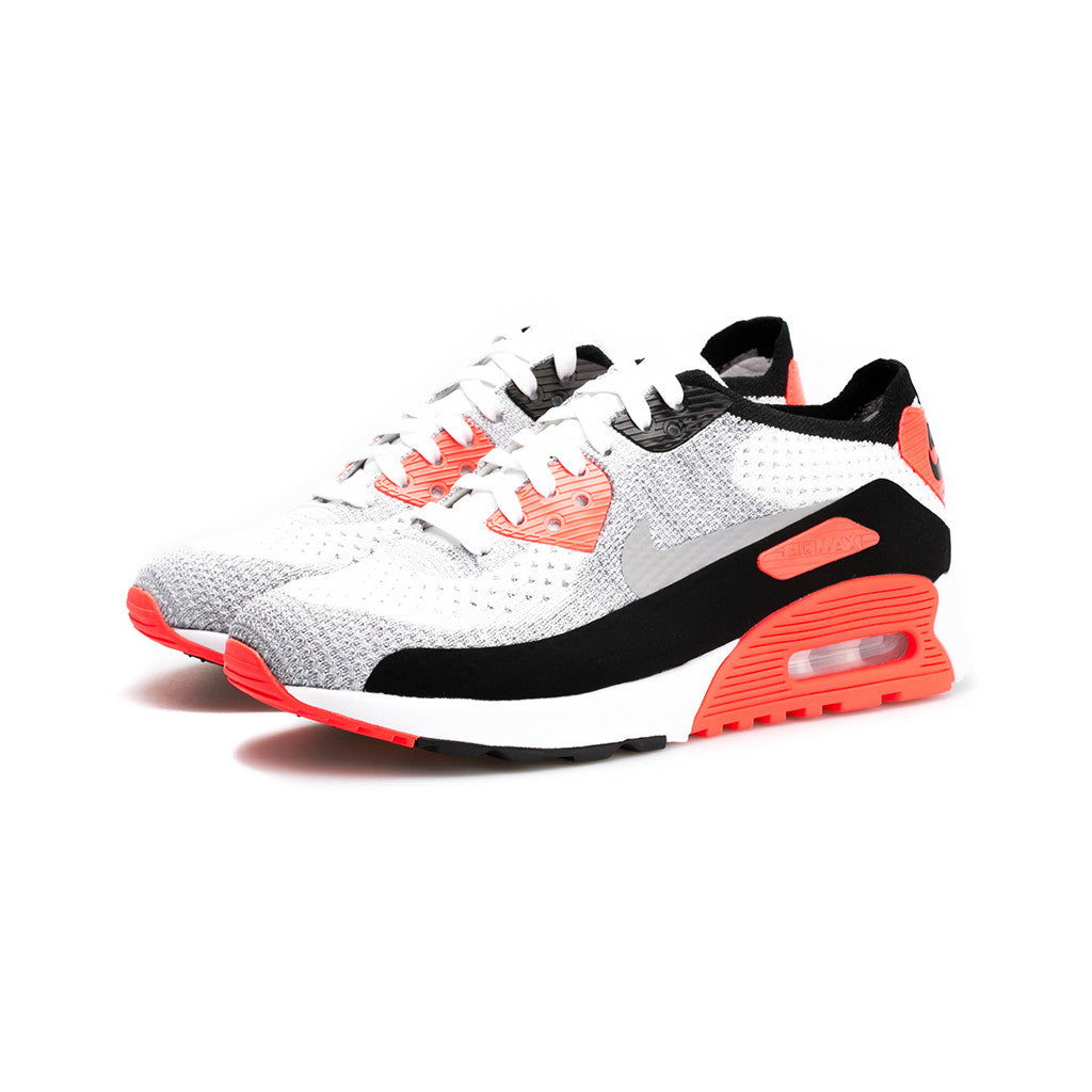 Nike - W Air Max 90 Ultra 2.0 Flyknit (White/Wolf Grey-Bright Crimson)