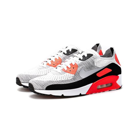 Nike - Air Max 90 Ultra 2.0 Flyknit (White/Wolf Grey-Bright Crimson)