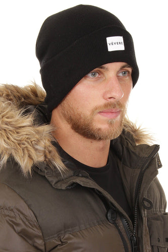 London Black Slouch Beanie Hat - Vevere