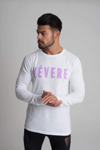 White & Lilac Long Sleeve T-Shirt - Vevere