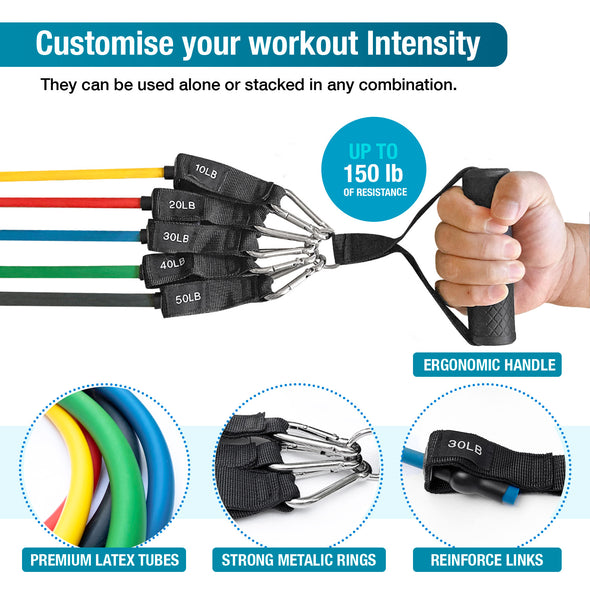 Resistance Bands Set (11 Pack) - Exercise Bands Stackable up to 150lb