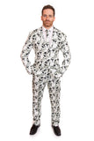 Black and White Halloween Skull Print Stag Suit - Stag Suits