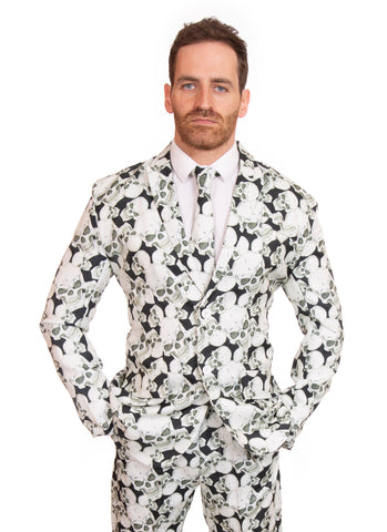 Black and White Halloween Skull Print Stag Suit