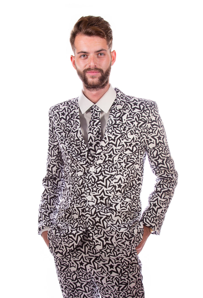 Black and White Stars Stag Suit - Stag Suits