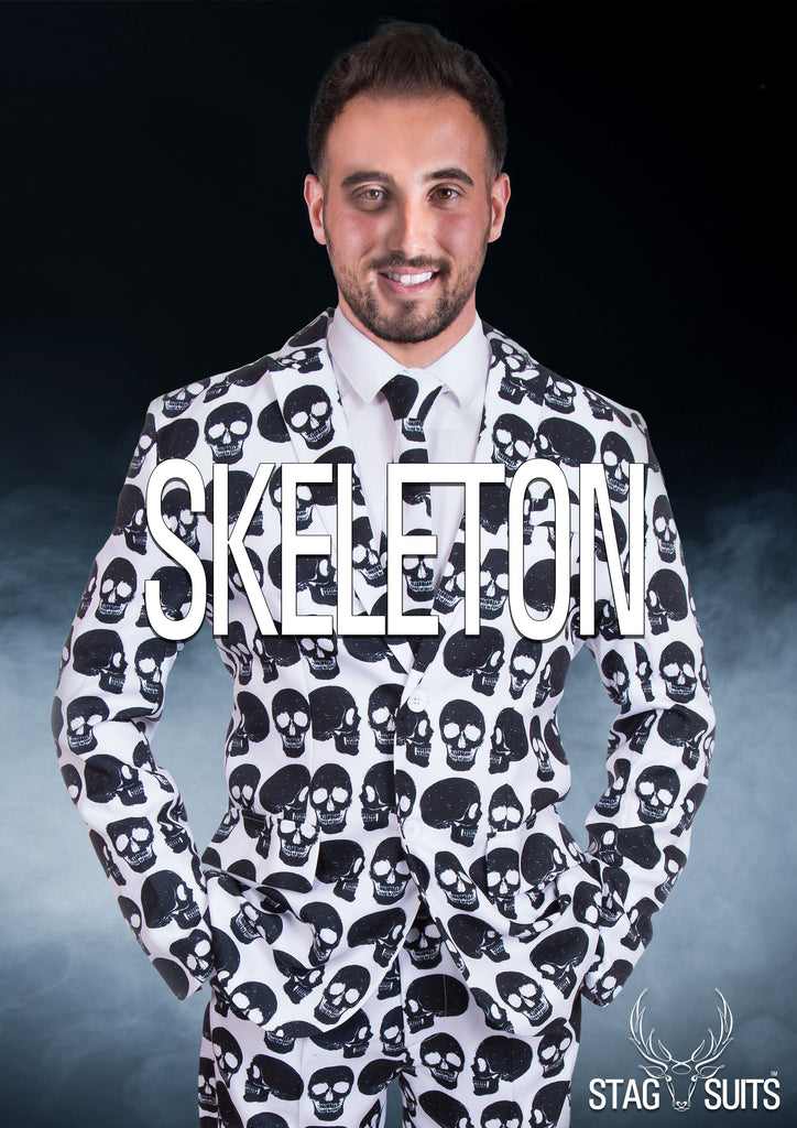 Skeleton Skull Halloween Print Stag Suit - Stag Suits
