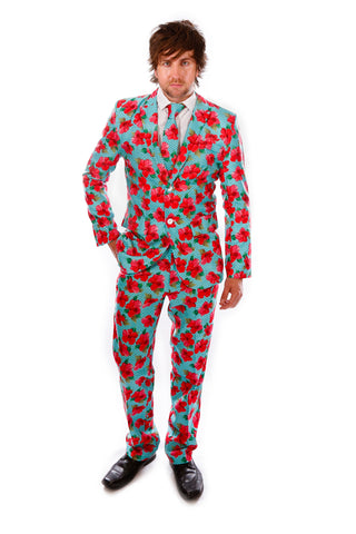 Red Hawaiian Print Stag Suit
