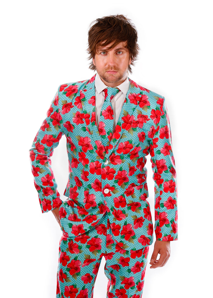 Red Hawaiian Print Stag Suit - Stag Suits