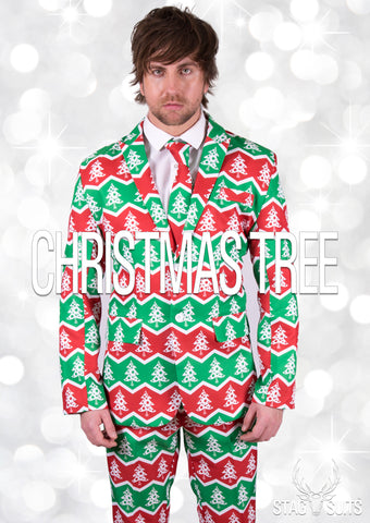Green and Red Christmas Tree Stag Suit