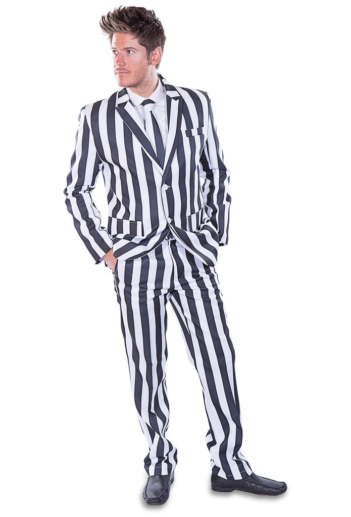 Black and White Striped Stag Suit - Stag Suits