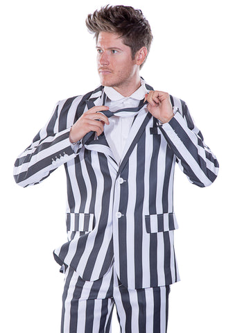 Black and White Striped Stag Suit