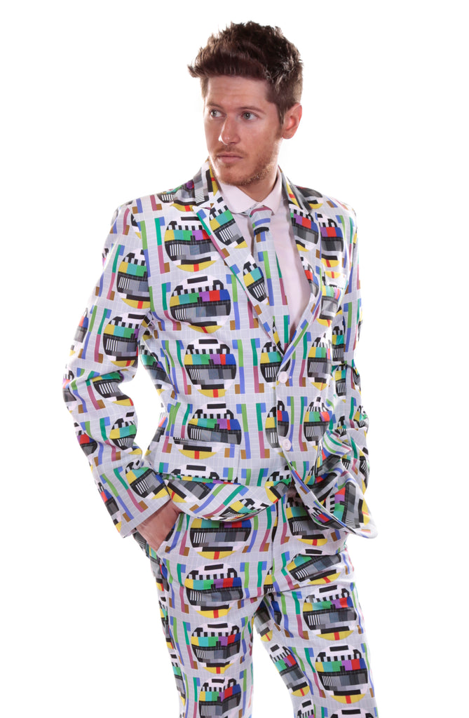 TV Retro Test Card Screen Stag Suit - Stag Suits