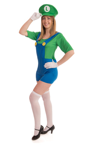 Ladies Green Super Plumber Costume