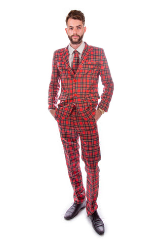 Red Tartan Scottish Stag Suit