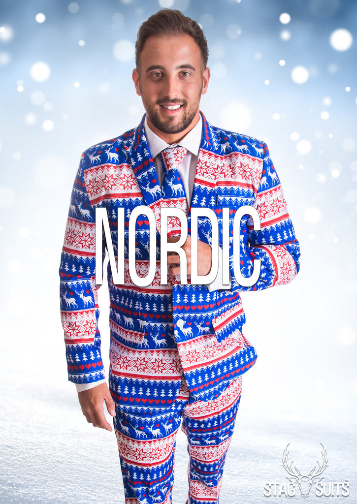 Nordic Blue Christmas Stag Suit - Stag Suits