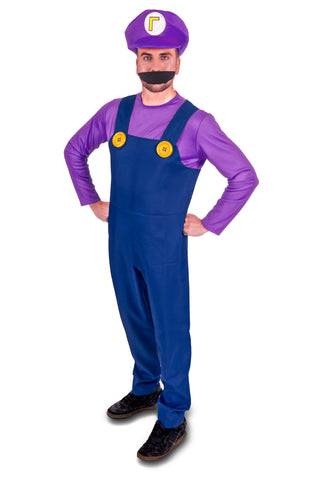 Super Plumber Purple Bad Brothers Adult Fancy Dress Costume