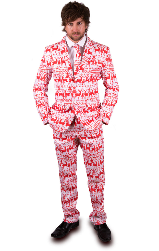 White and Red Reindeer Christmas Stag Suit - Stag Suits
