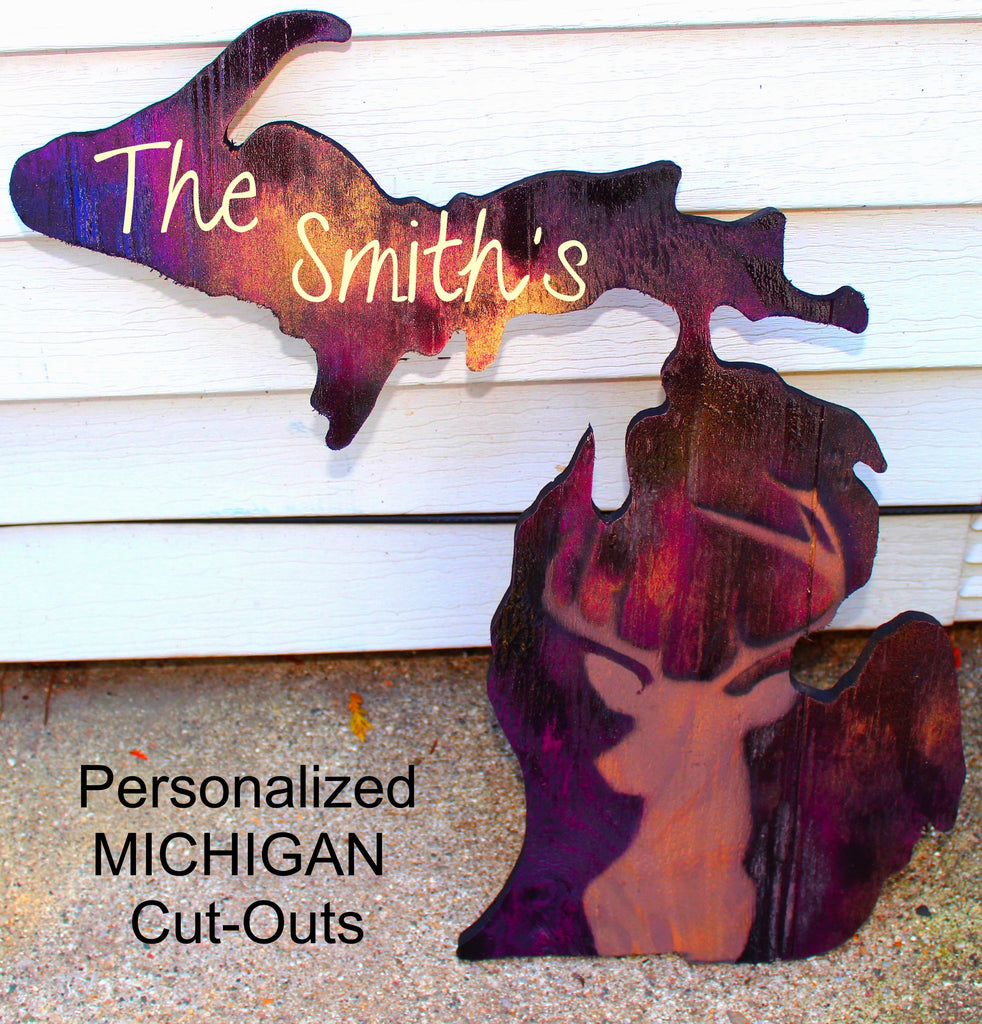 Personalized MI Wood cut-out Collection Available