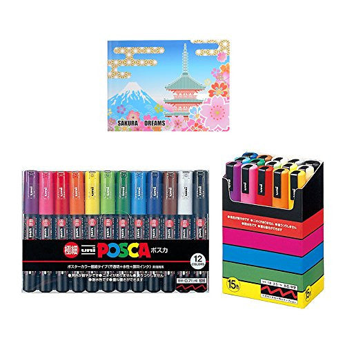 Uni-posca Paint Marker Pen, BUNDLE SET! Extra Fine Point / Set of 12, Medium Point / Set of 15 + Original 5 Colors Sticky Notes