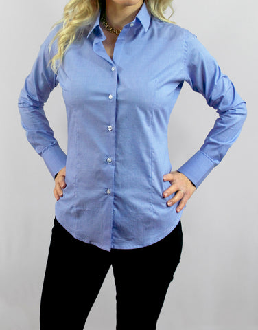 """Beacon"" - Women's Blue Micro Check: No Sweat"