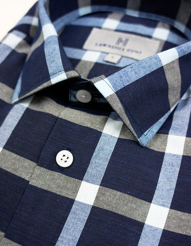"""Marywood"" - Blue & Gray Check: NO SWEAT"