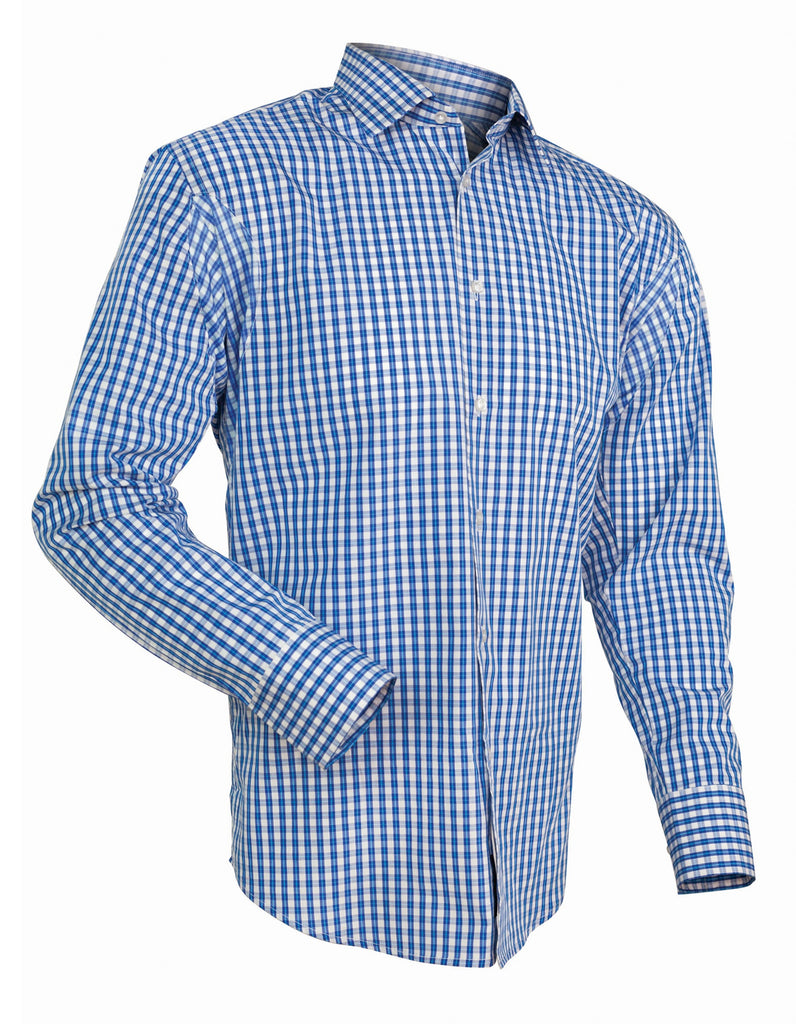 Brush blue gingham no sweat lawrence hunt for Mens blue gingham shirt