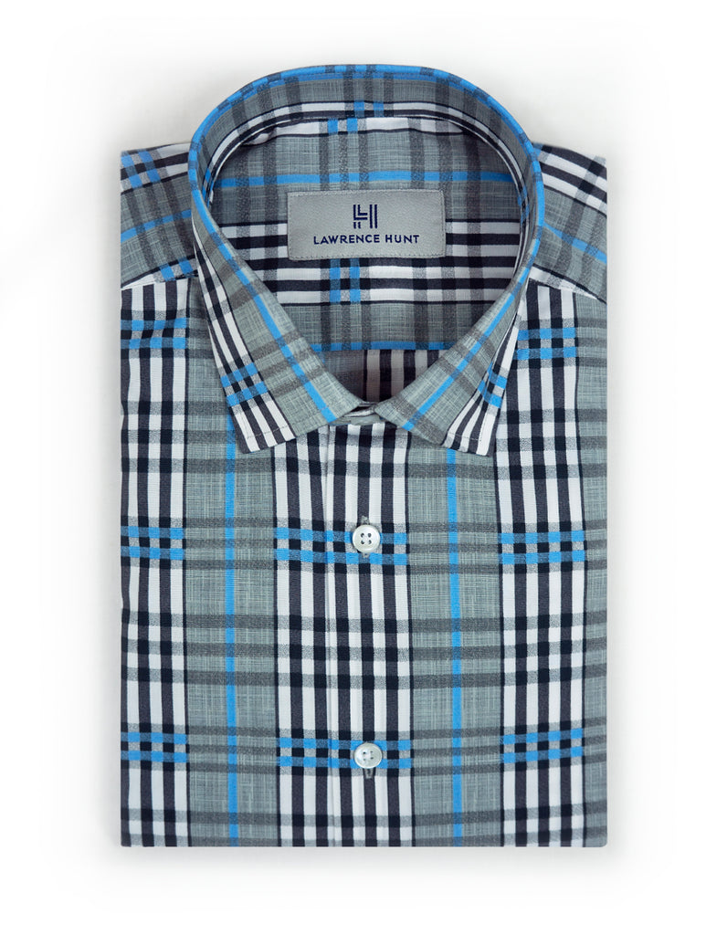 """Linwood"" - Blue & Gray Plaid: NO SWEAT"