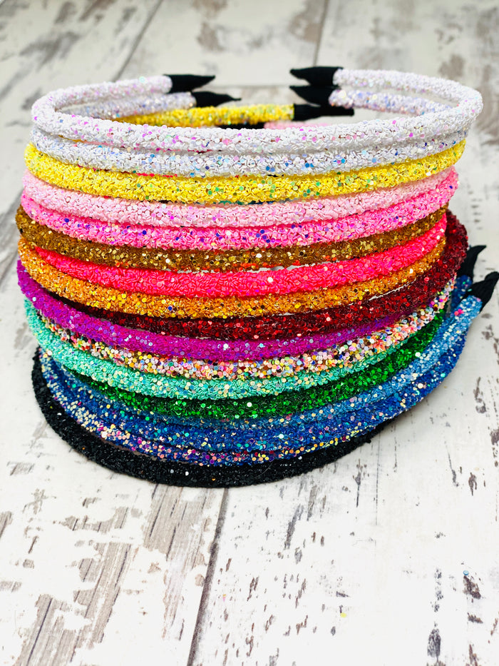 Glitter Hard Headbands and Clips